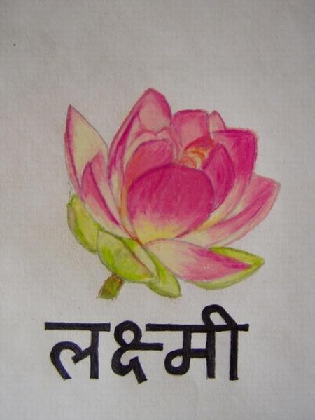 Lakshmi - flower tattoo