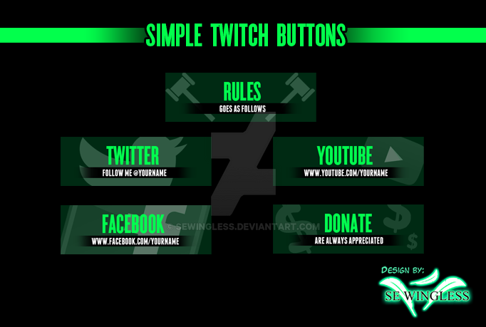 Simple Twitch Buttons Set by SEwingless on DeviantArt