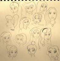 Disney Sketch Dump (Females) by Jinx-Clover