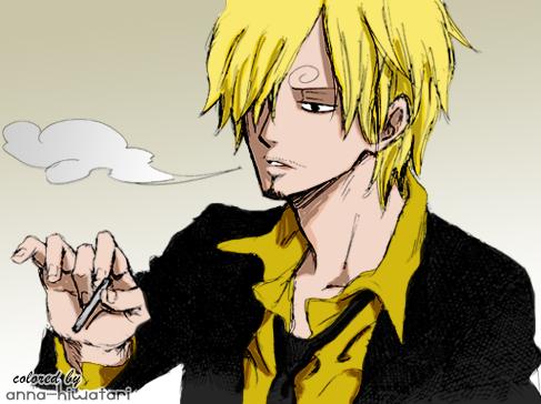 Sanji smoking HOT coloring by AnnaHiwatari