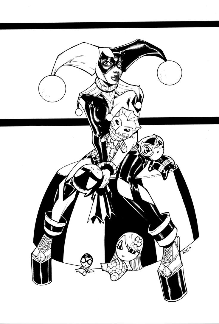 Harley quinn and dolls by olivernome on deviantart for Harley quinn coloring pages