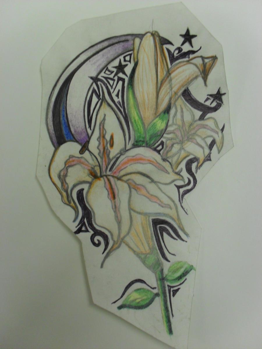 moonlit lilly tattoo design by blood of the scribe on deviantart. Black Bedroom Furniture Sets. Home Design Ideas