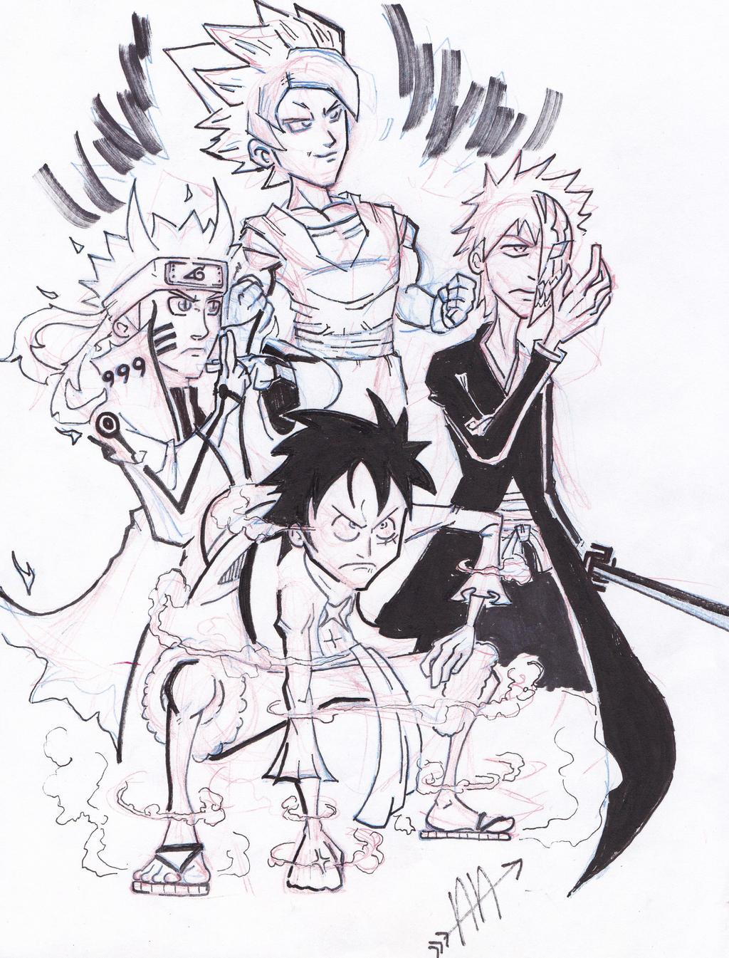 Luffy naruto goku ichigo doodle by kiddcartoony on deviantart