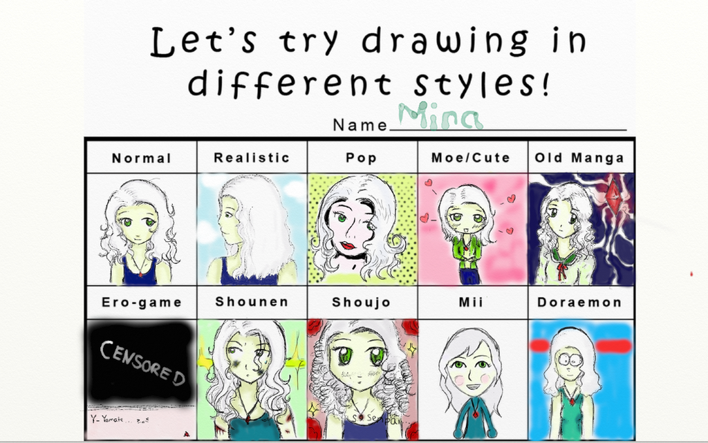 different drawing styles list let s try drawing in different styles mina oc by 10640