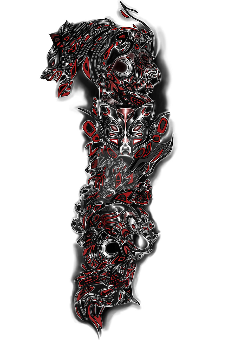 Wolf tattoo sleeve 02 by fallingsarah on deviantart for Full custom tattoo
