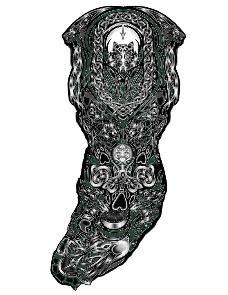 Custom tattoo design celtic wolves by fallingsarah on for Full custom tattoo