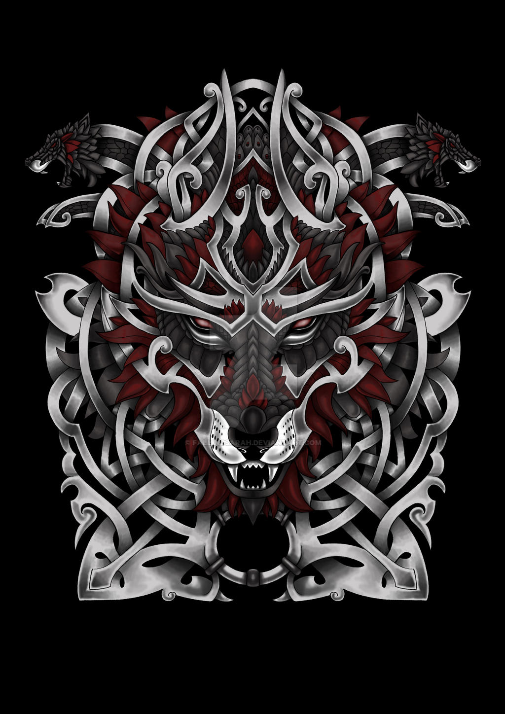 Nordic wolf tattoo designs
