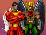 Captain Marvel and Hawkman - Panel Study