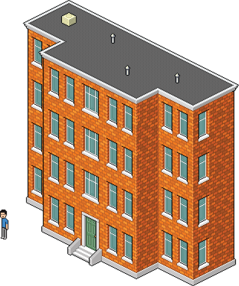 brick apartment building.  Isometric Pixel Art 2 Brick Apartment Building By GoldBlockIngot