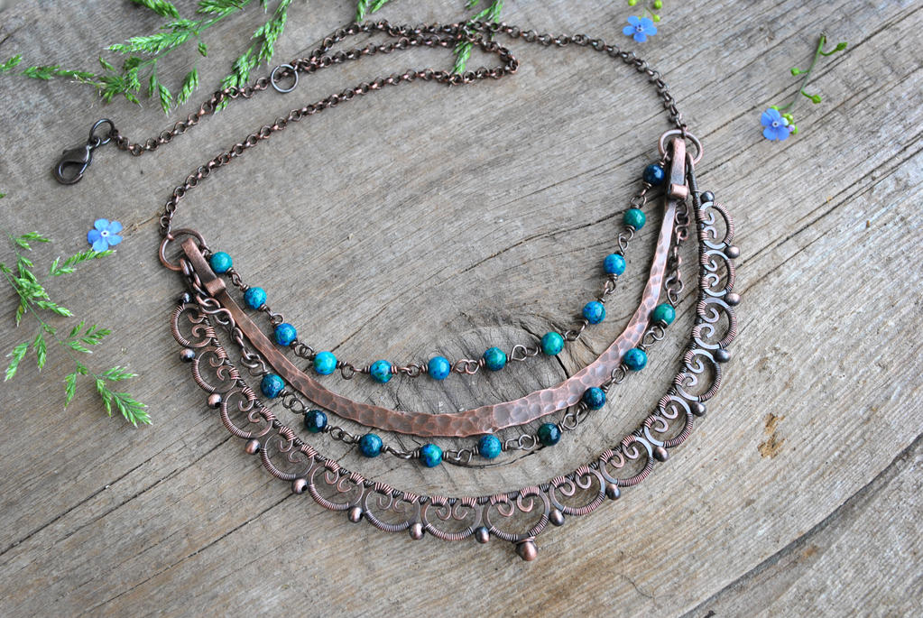 Azurite Necklace by twistedjewelry