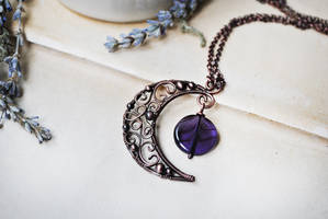 Copper Moon Necklace by twistedjewelry