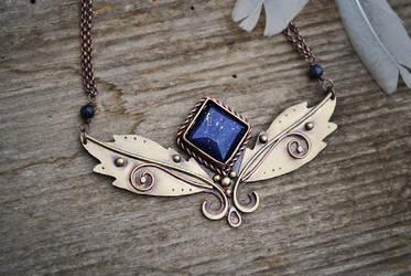 Golden Blue Necklace by twistedjewelry