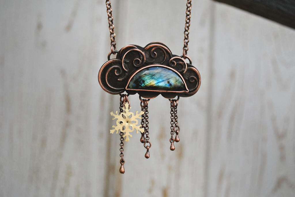 Copper Cloud Necklace by twistedjewelry