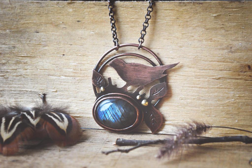 Copper Birdie Necklace by twistedjewelry
