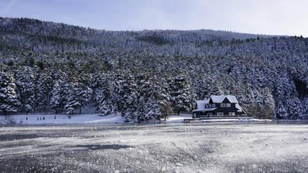 Frozen lake Bolu turkey golcuk