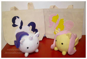 MLP - Fluttershy and Rarity Bags and Pony-Puffs by mihoyonagi