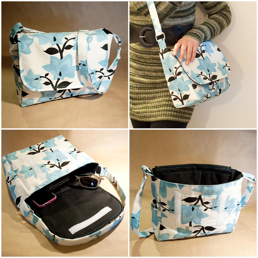 Bag - Blue Floral Print With Black Lining By Mihoyonagi On DeviantArt