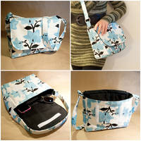 Bag - Blue Floral Print with Black Lining by mihoyonagi