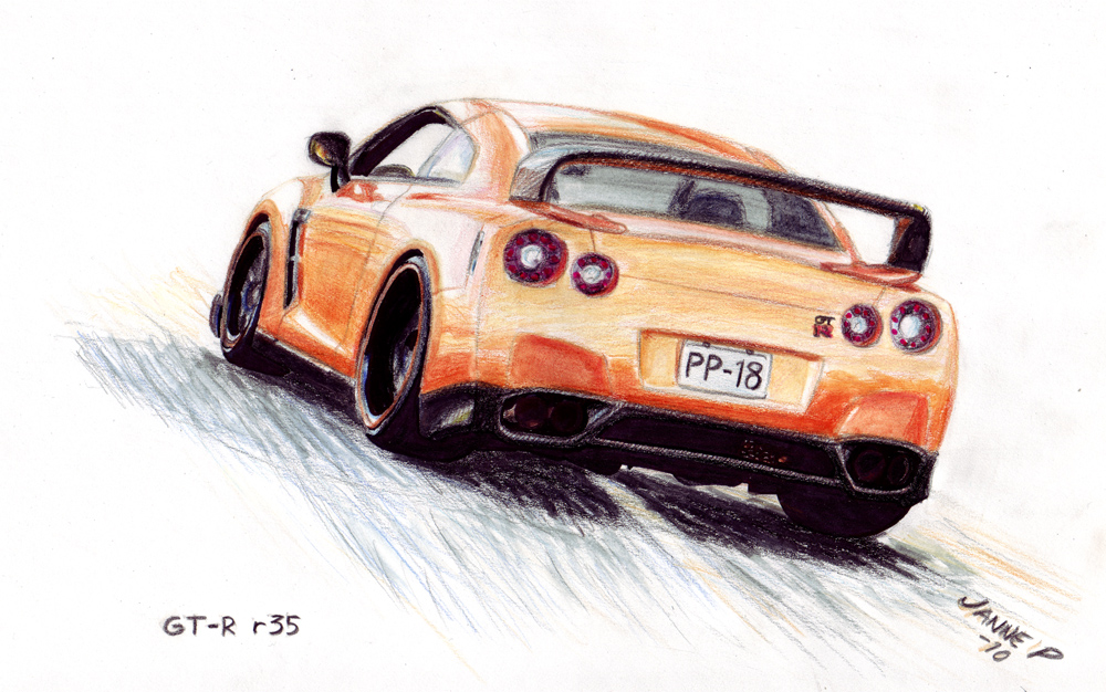 nissan gt r drawing by jiip33 on deviantart. Black Bedroom Furniture Sets. Home Design Ideas