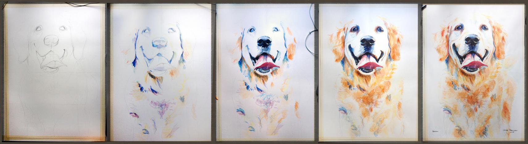 Aquarelle dog steps by JIIP33