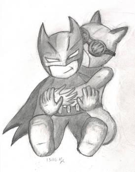 Bats and Cats Chibi Batman and Catwoman