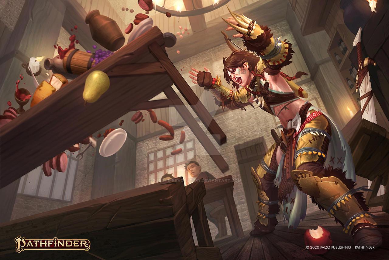 Barbarian Hurling a Table