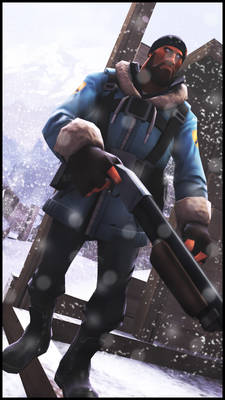 Blue Soldier in the snow