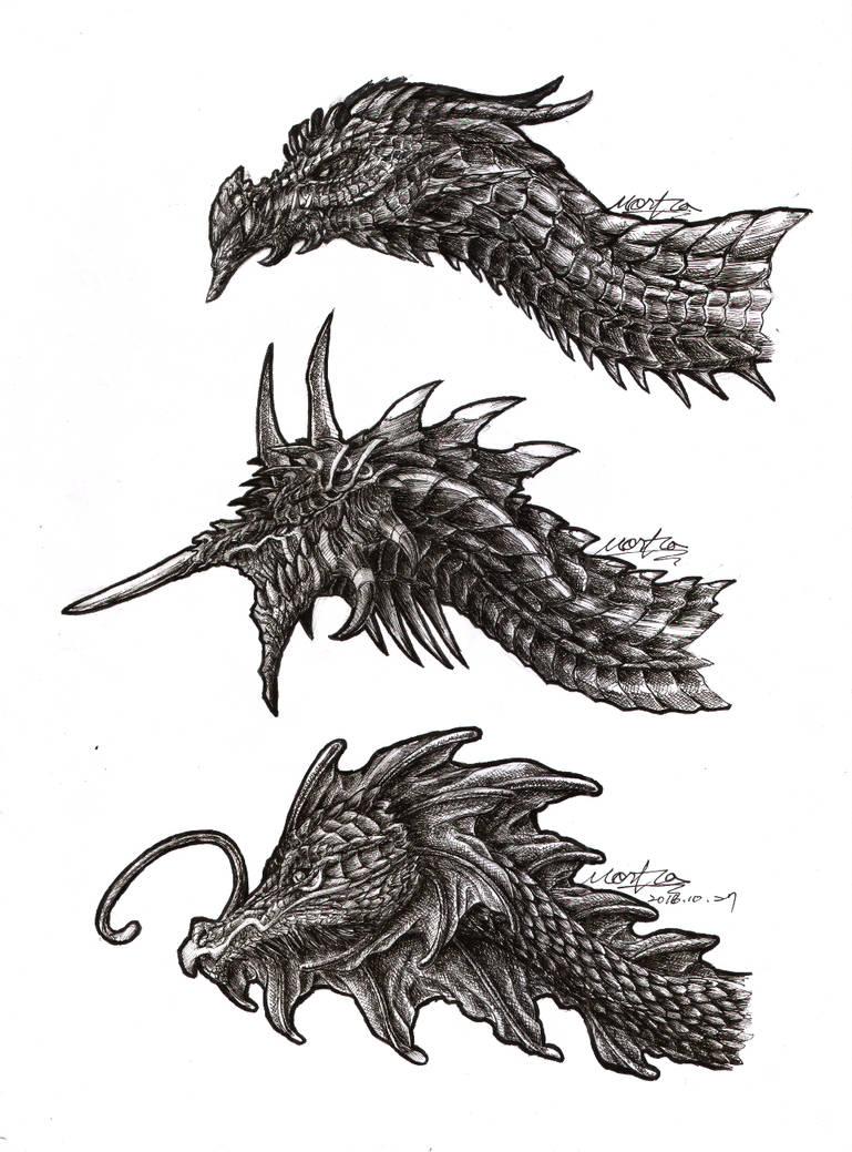 Dragons Heads Sketch by Black-Hermit