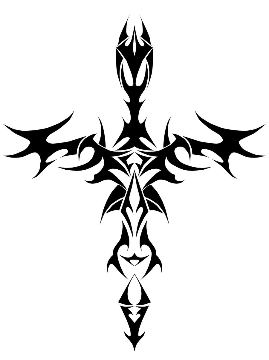 It's just a picture of Witty Tribal Cross Drawing