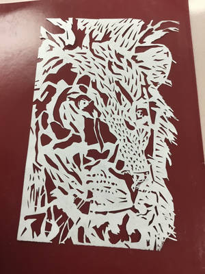 Lion cut-out (finished) with red backdrop by DavetheBunnyboy