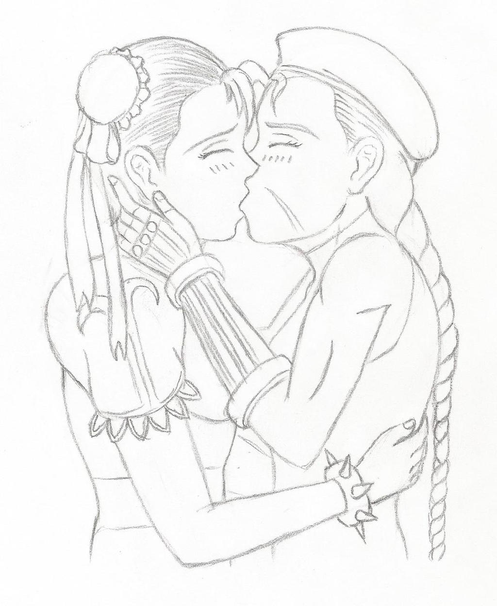 Cammy and Chun kiss - sketch by HPL-The-Outsider