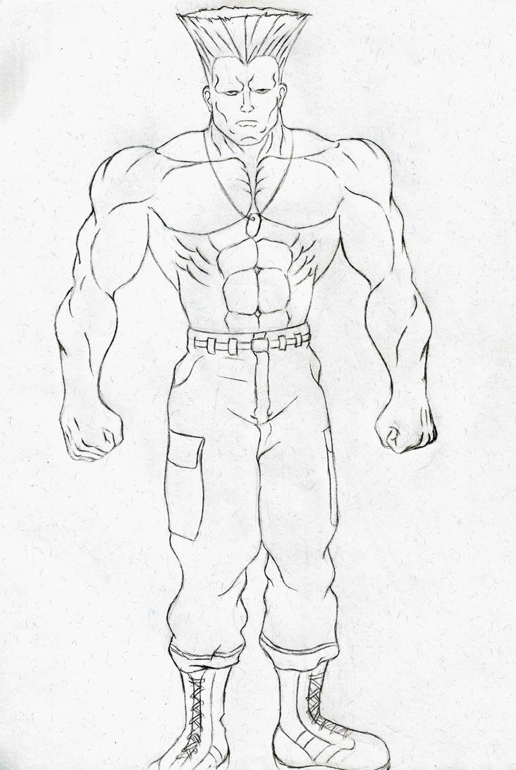 Guile full body sketch 1 by HPL-The-Outsider