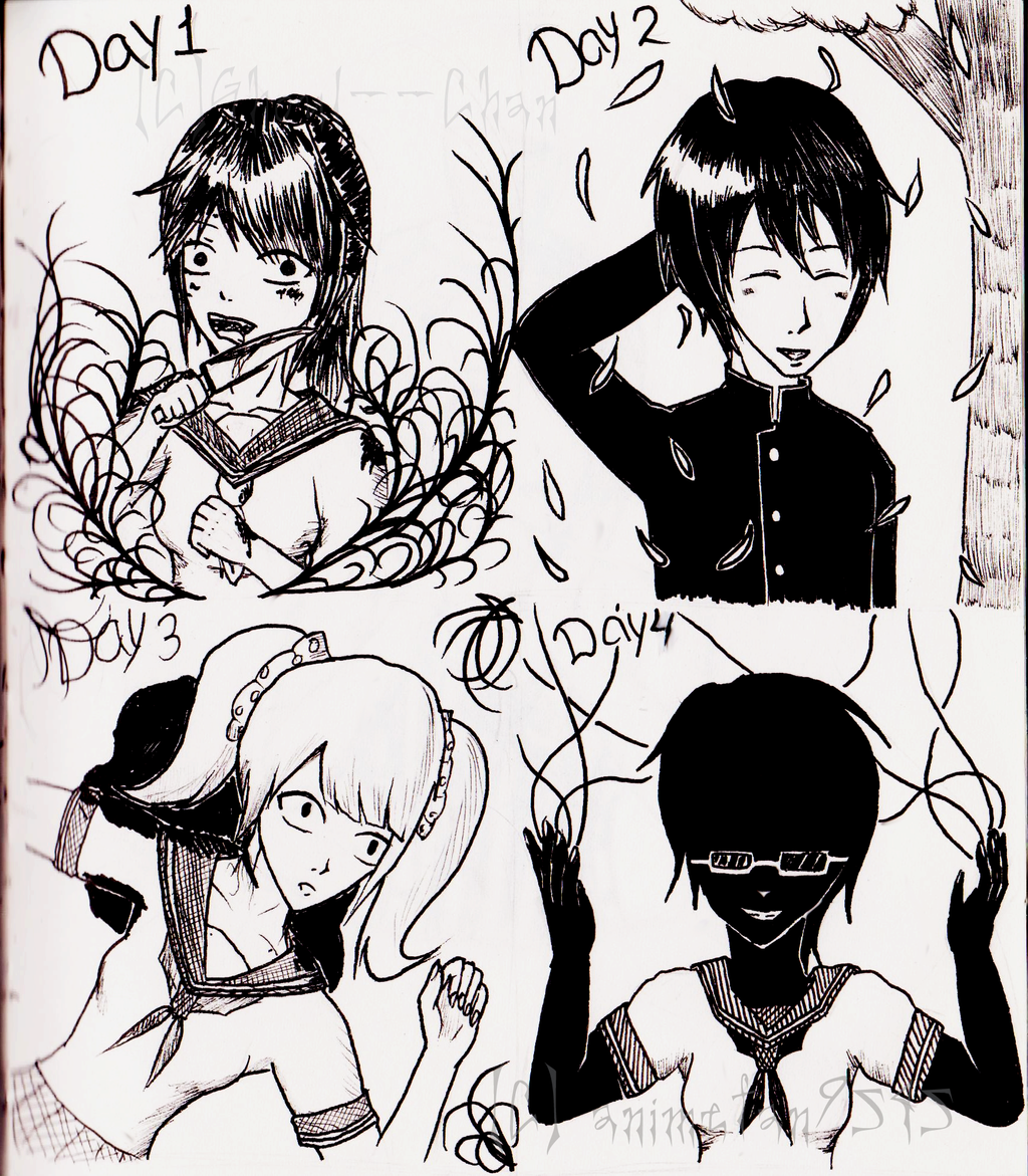 Download Anime Days Batch: INKtober Day 1-4 (Yandere Simulator) By Animefan9545 On