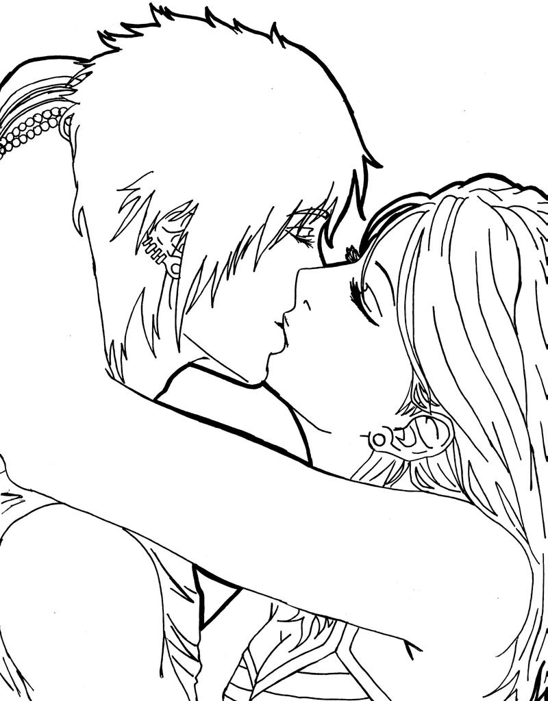 Cute Anime Kissing Coloring Pages
