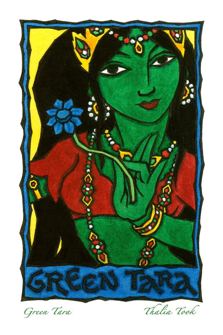 Green  Tara by ThaliaTook