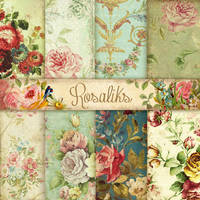 A1 (4)Victorian classic. Floral Digital Paper Pack by rosaliks