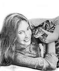 Girl with her Cat by iizzyy174