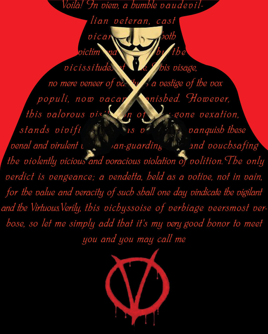v for vendetta critical essay V for vendetta lesson plans include daily lessons, fun activities, essay topics, test/quiz questions, and more everything you need to teach v for vendetta.