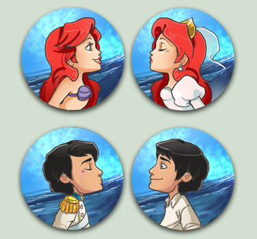 Comish - OTPins Ariel and Eric by oneoftwo
