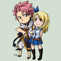 Comish - Natsu Lucy Sticker by oneoftwo