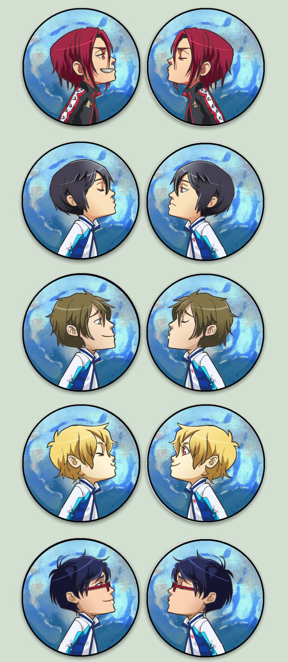 Swimming anime Otpins by oneoftwo
