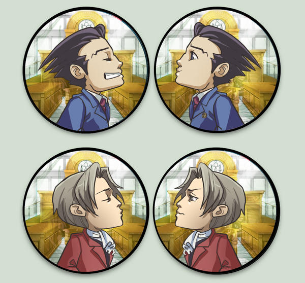 Phoenix Wright Otpins by oneoftwo