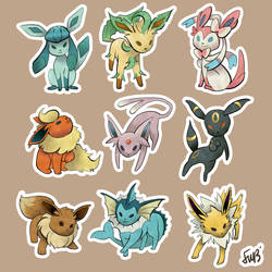 Eeevee evolution stickers by oneoftwo