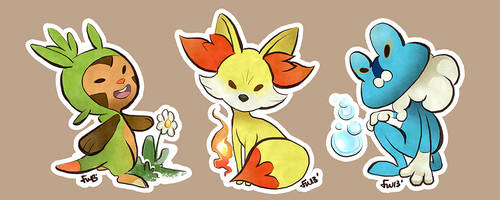 Pokemon Gen VI starter stickers by oneoftwo