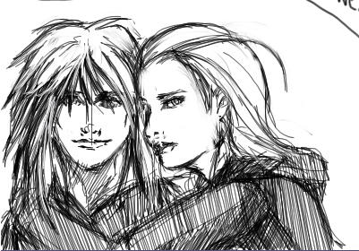 Marly and Larxy sketch by oneoftwo