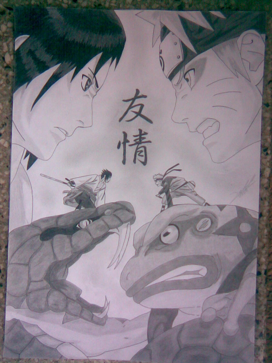 Mi nuevo dibujo de Naruto Sennin mode con Gamakuchi vs Sasuke