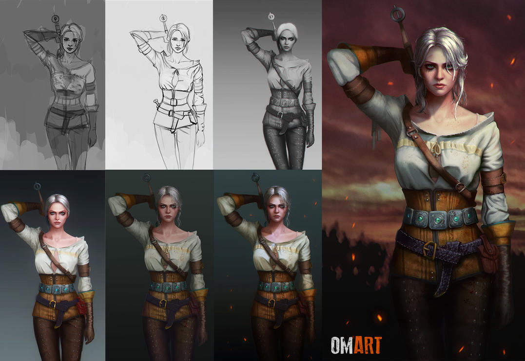 Ciri The Witcher III STEPS by OmarDiazArt