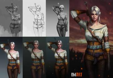 Ciri The Witcher III STEPS by OmarDiazArt