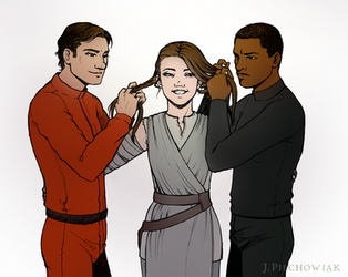 SW: The Force Awakens - braiding hair by P-the-wanderer