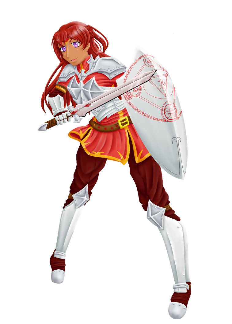 Red Shield Knight by Aijihi